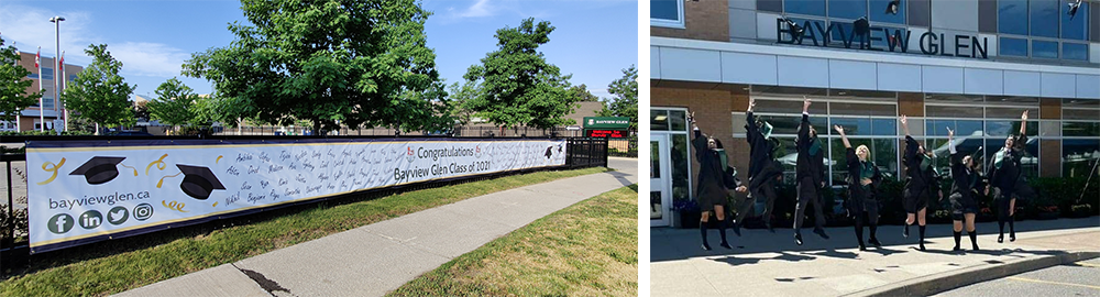 A photo of the 2021 grad class banner with the signatures of graudates, and a photo of graduates celebrating outside of the school