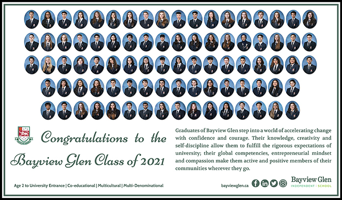 The collected graduation photos of the class of 2021