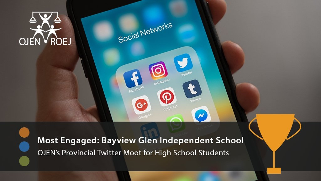Bayview Glen Law Club Wins Award from OJEN at Twitter Moot Competition