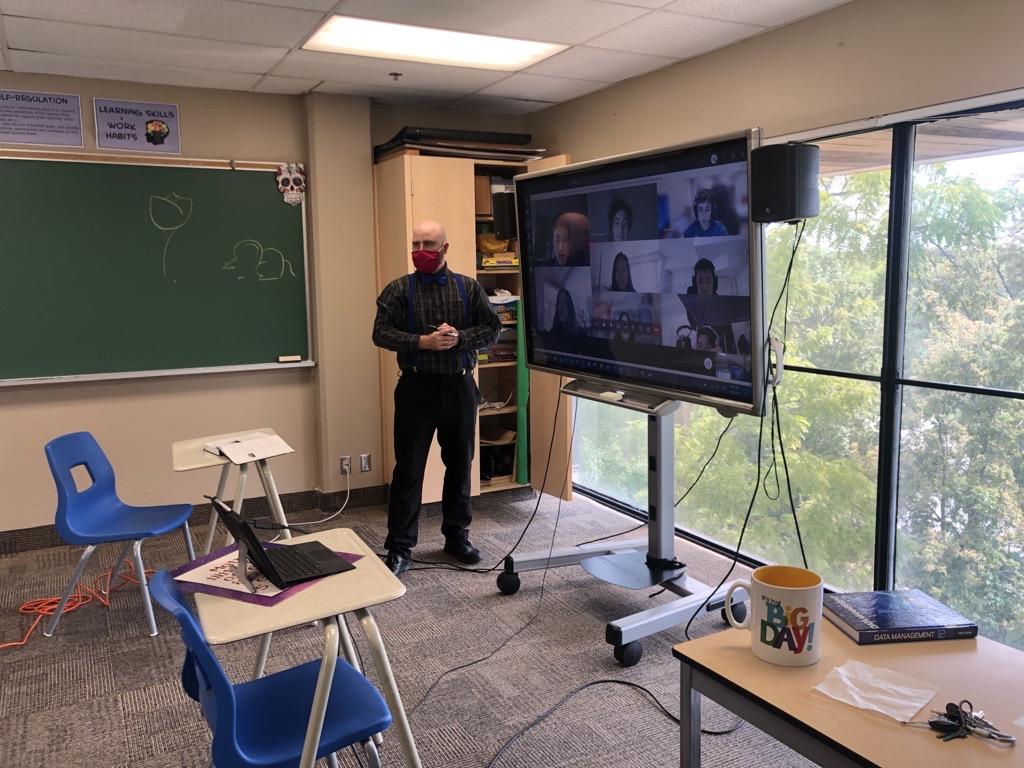 A remote zoom classroom