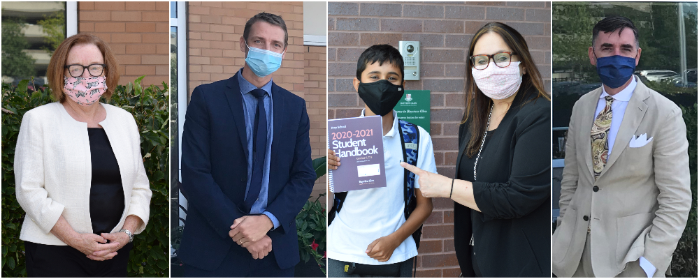 pictures of staff, teachers and students wearing masks