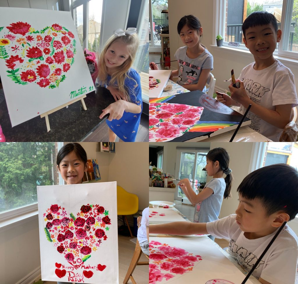 screenshots of kids holding up their flower heart crafts for mothers' day