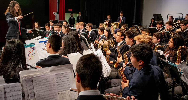 students play their instruments at a bvg band concert
