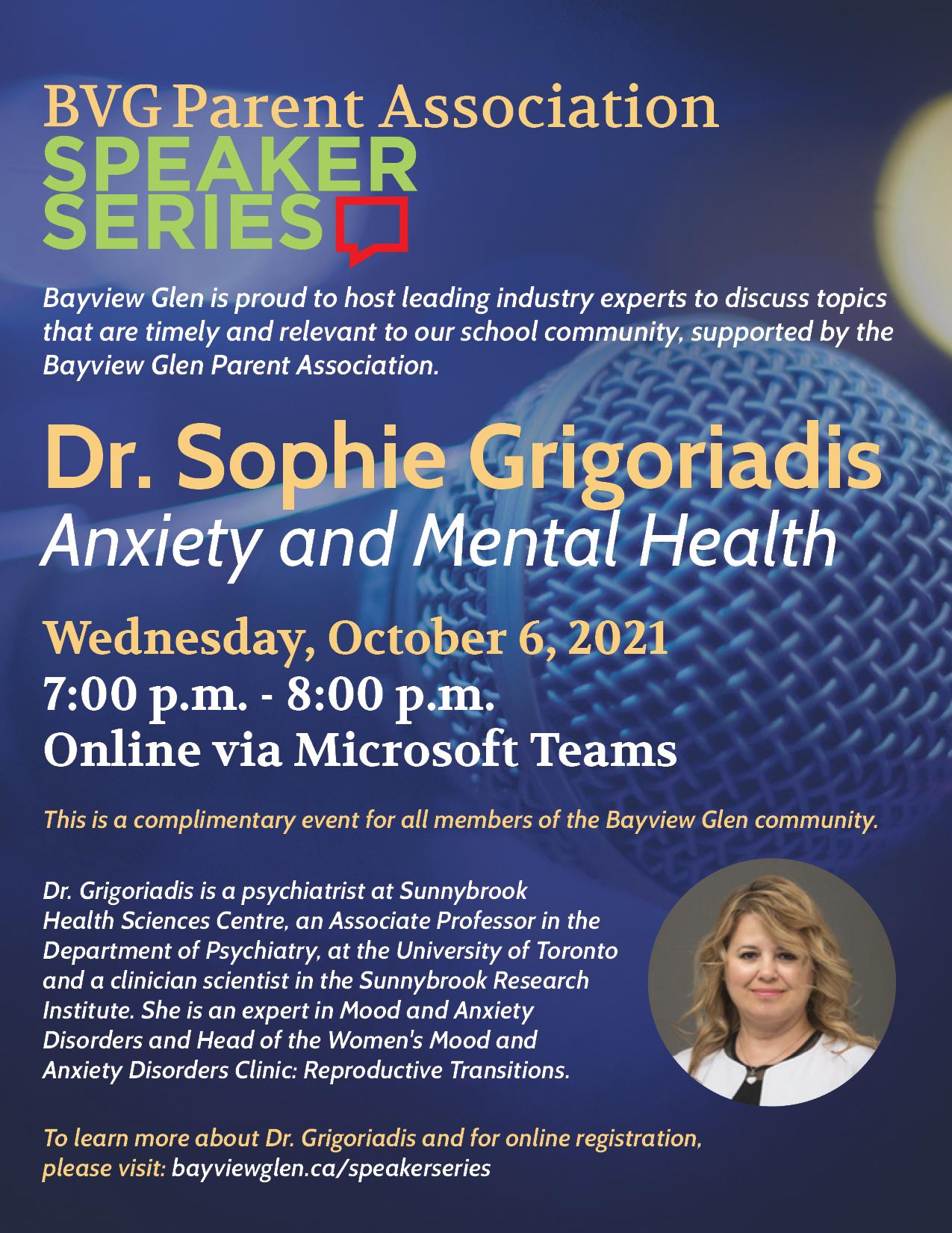 BVG Speaker Series Dr. Sophie Grigoriadis Poster